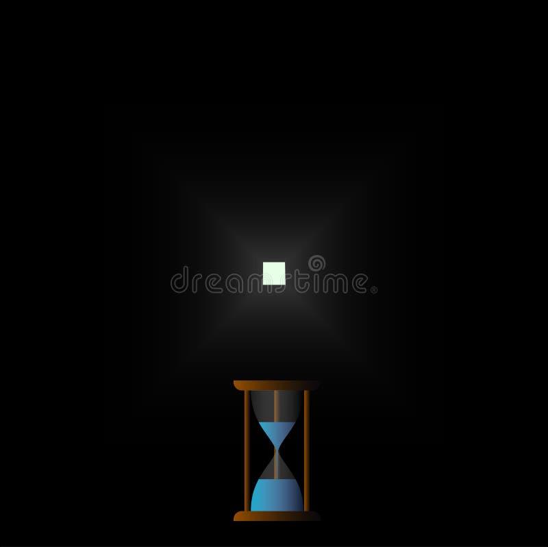 Samotnie tęsk sposobu Hourglass czasu zegaru bieg royalty ilustracja