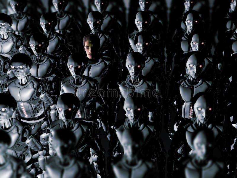 Samotnie W androidu świacie ilustracja wektor