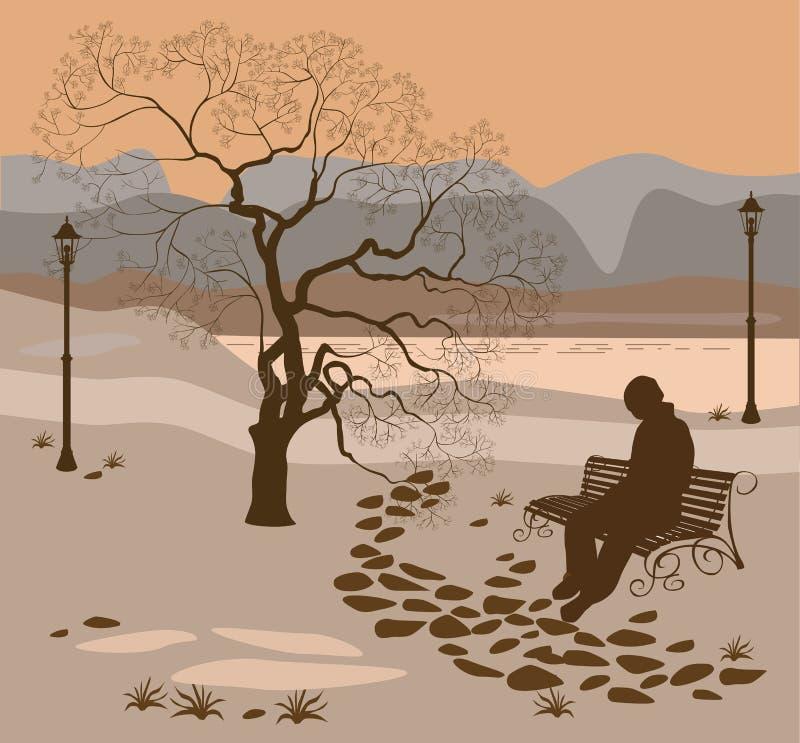 Samotność, spacer w parkowym mężczyzna ilustracji