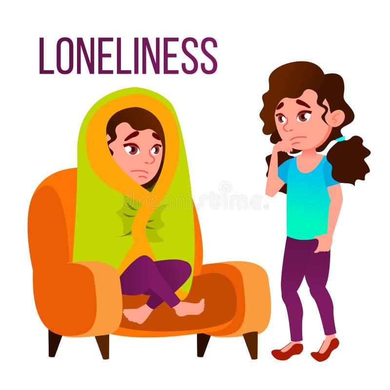 Samotności kreskówki Wektorowy Plakatowy szablon Z tekstem ilustracja wektor