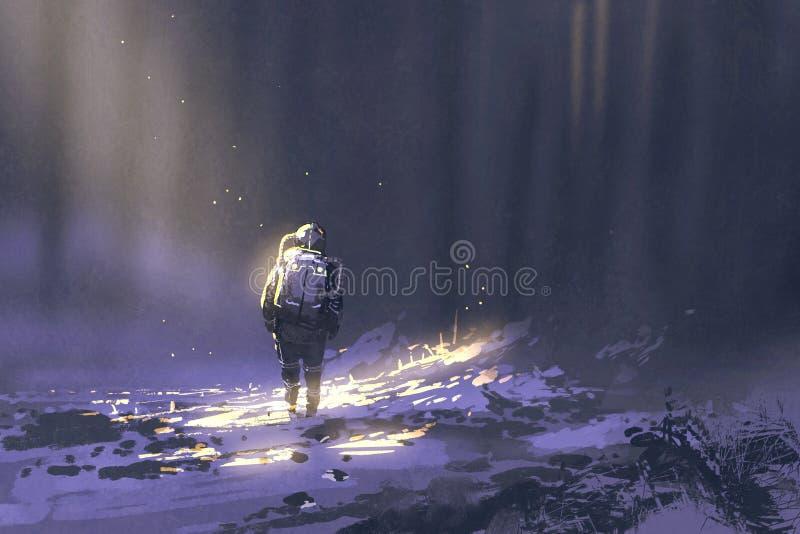 Samotny astronauta odprowadzenie w śniegu ilustracja wektor