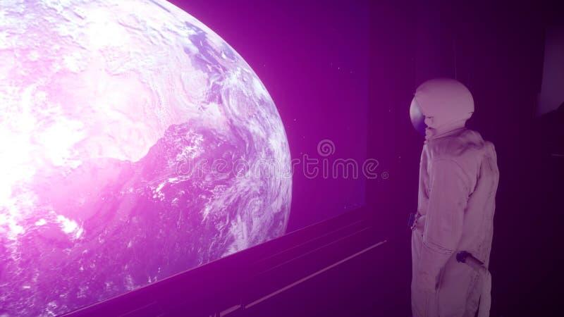 Samotny astronauta w futurystycznym astronautycznym korytarzu, pok?j widok ziemia ?wiadczenia 3 d royalty ilustracja