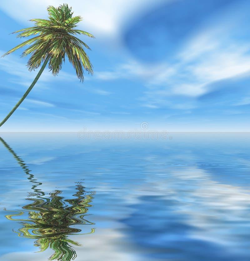 Samotny drzewko palmowe przy morze plażą ilustracja wektor