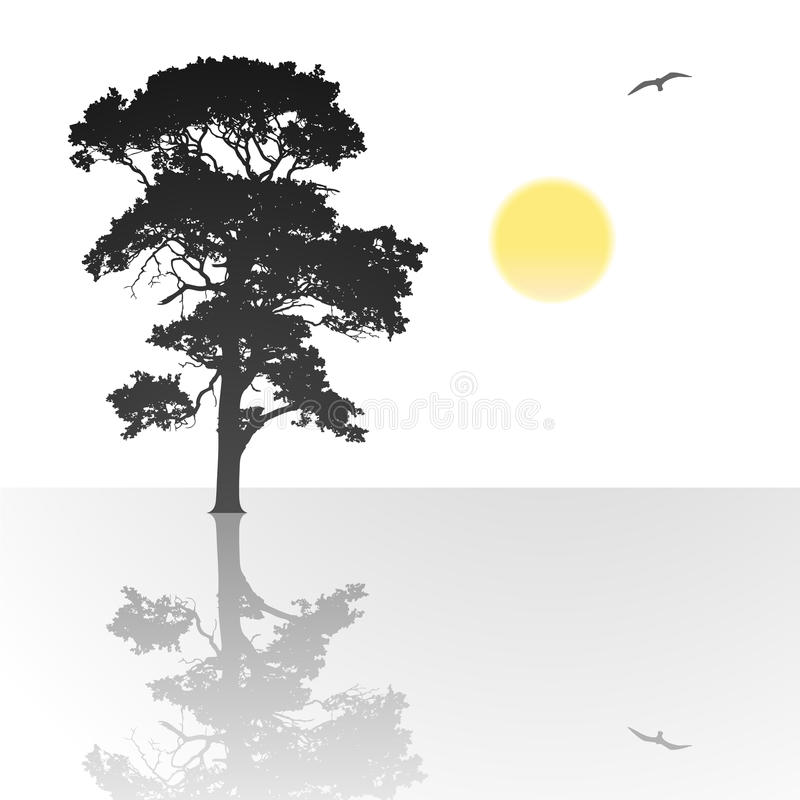 samotny drzewo ilustracja wektor