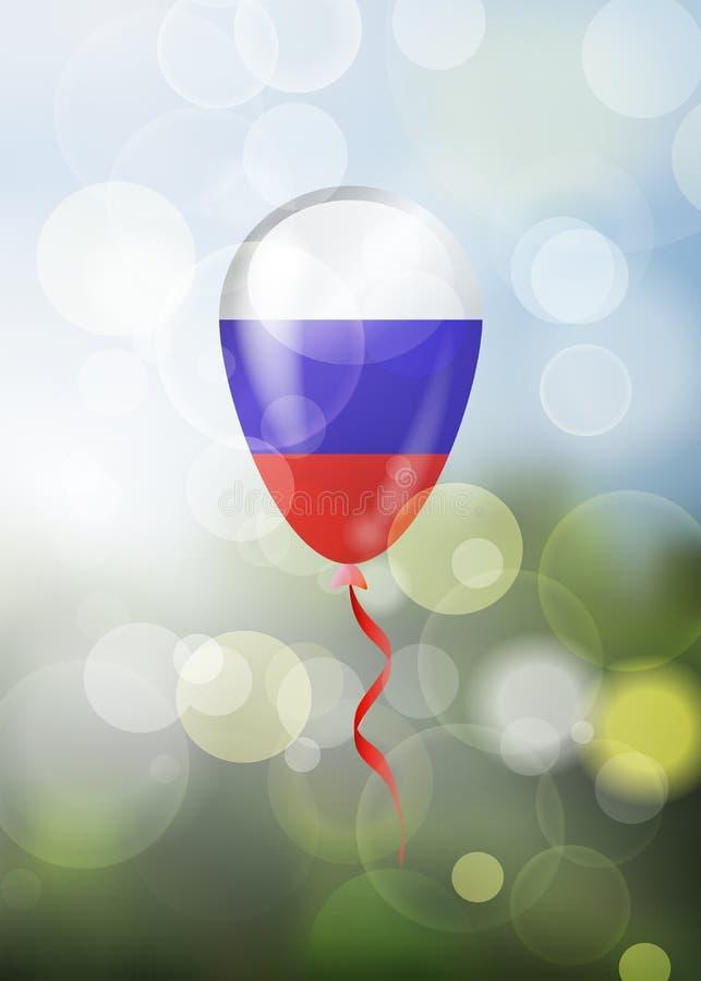 Samotny glansowany barwiony w rosjanin flaga balonie na naturalnej wiosny b royalty ilustracja