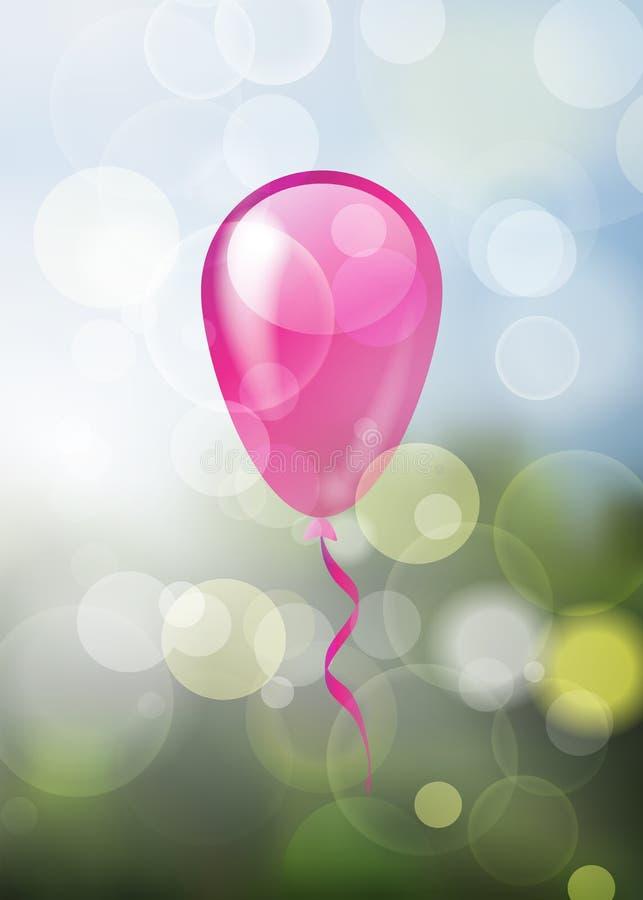 Samotny glansowany menchia balon na naturalnej wiośnie zamazującej gulgocze z powrotem ilustracja wektor