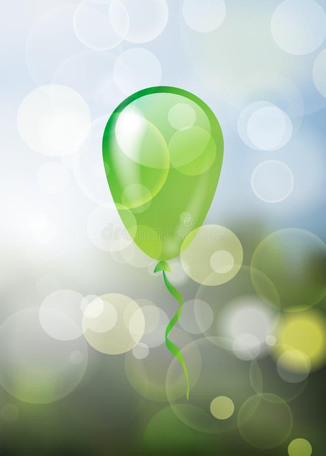 Samotny glansowany zieleń balon na naturalnej wiośnie zamazującej gulgocze bac royalty ilustracja