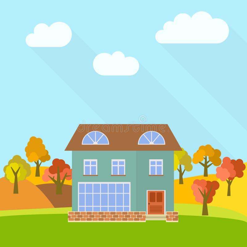 Samotny kondygnacja dom w polu z żółci drzewa ilustracja wektor