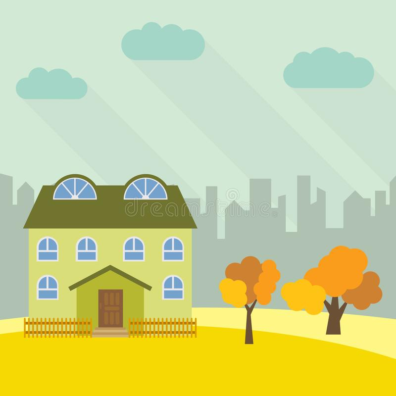 Samotny kondygnacja dom w polu z żółtym drzewem ilustracji