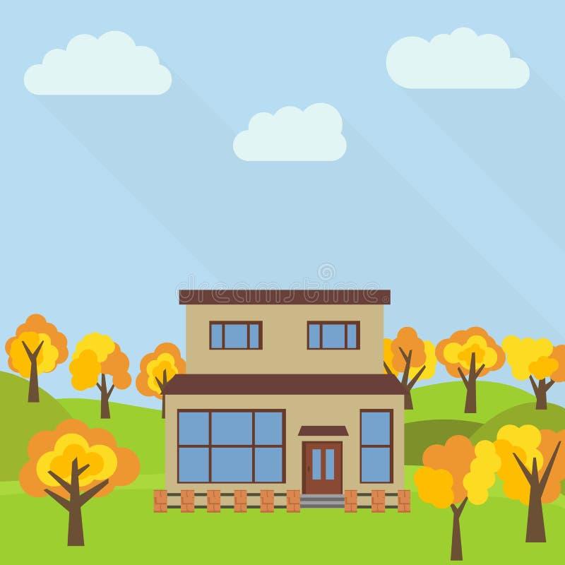 Samotny kondygnacja dom w polu z żółtym drzewem ilustracja wektor