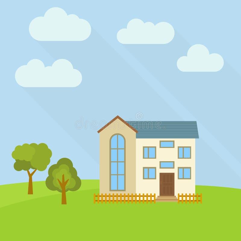 Samotny kondygnacja dom w polu z dwa zielonymi drzewami ilustracji
