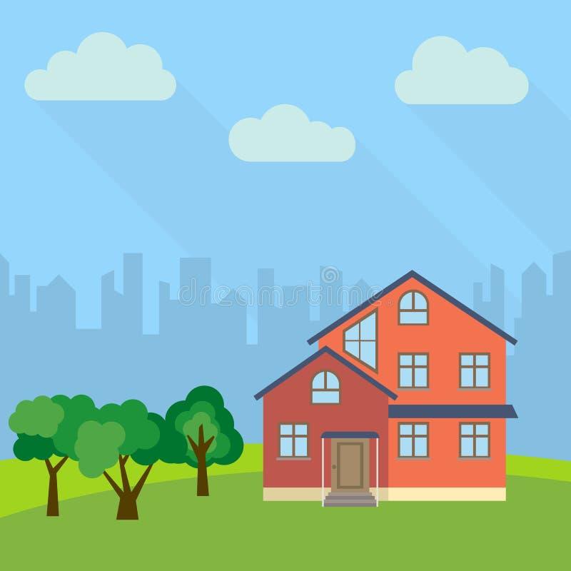 Samotny kondygnacja dom w polu z zieleni drzewa ilustracja wektor