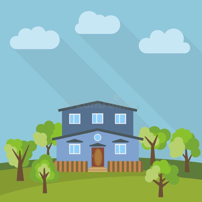 Samotny kondygnacja dom w polu z zielonym drzewem ilustracja wektor