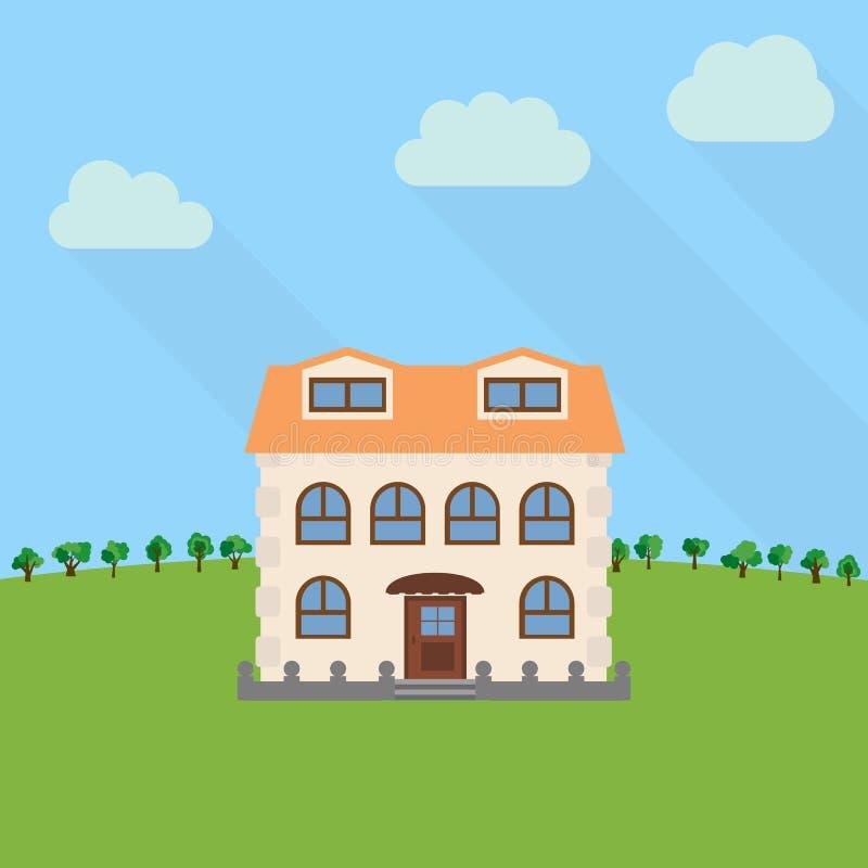 Samotny kondygnacja dom w polu z zielonym drzewem royalty ilustracja