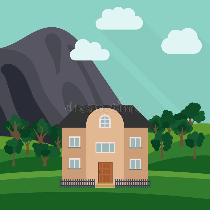 Samotny kondygnacja dom w tle góra z zielonym drzewem ilustracja wektor