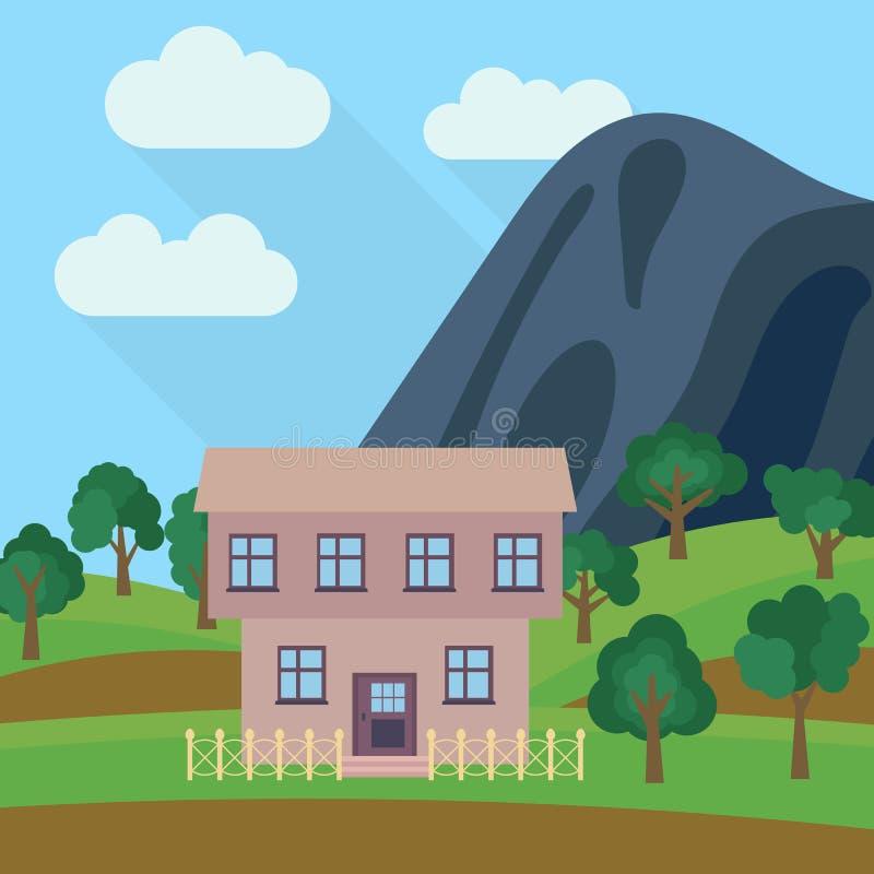 Samotny kondygnacja dom w tle góra z zielonym drzewem royalty ilustracja