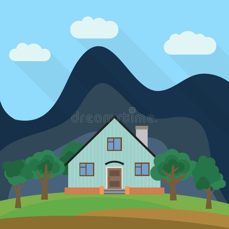 Samotny kondygnacja dom w tle góra z zielonymi drzewami royalty ilustracja