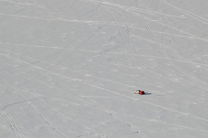 Samotny lodowy rybak Jeziorny Altoona Wisconsin obraz royalty free