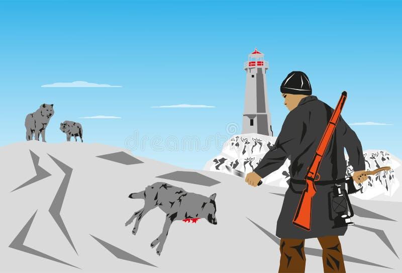 Samotny myśliwy wilki również zwrócić corel ilustracji wektora ilustracja wektor