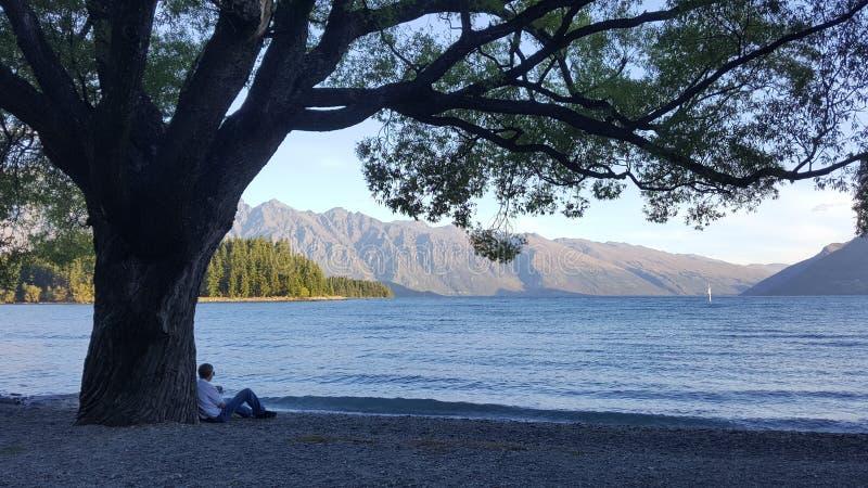 Samotny osoby obsiadanie pod drzewem zdjęcia stock