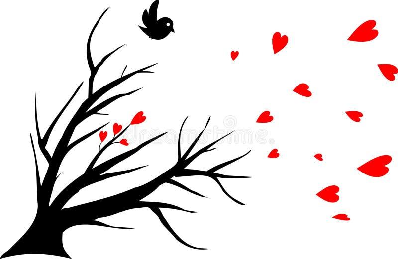 samotny ptak gubjący miłości symbol ilustracja wektor