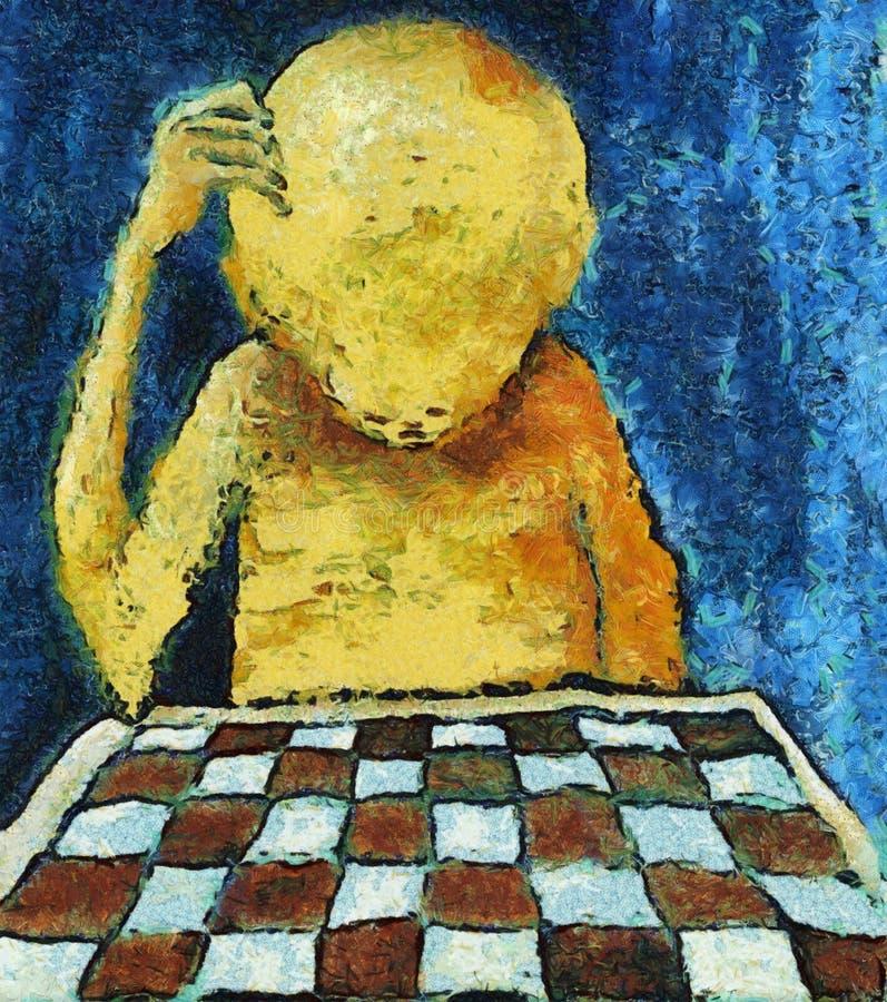 Samotny szachowy gracz ilustracja wektor