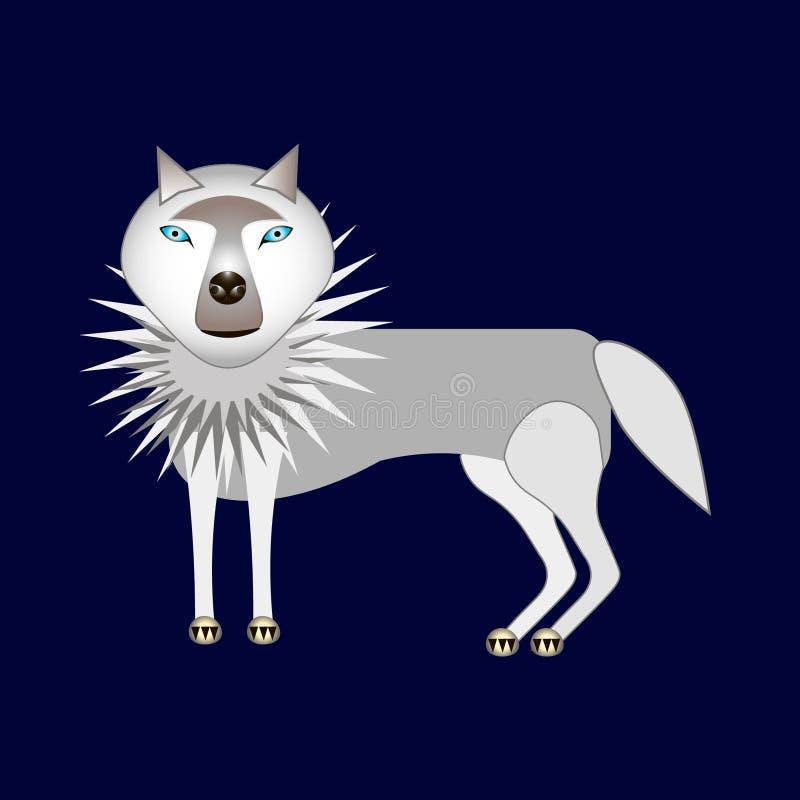 Samotny szary wilk ilustracja wektor