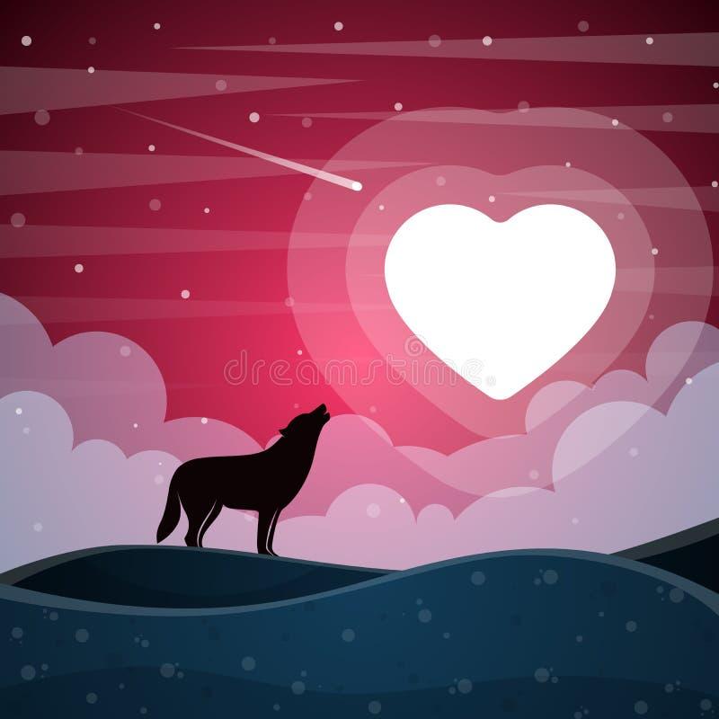 Samotny wilk wy księżyc royalty ilustracja