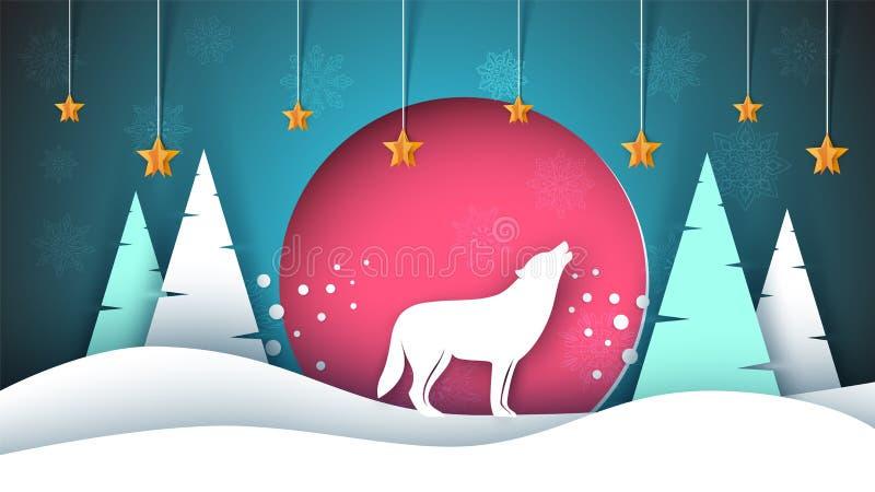 Samotny wilk wy księżyc boże narodzenie nowy rok szczęśliwy wesoło Zimy papierowa ilustracja ilustracji