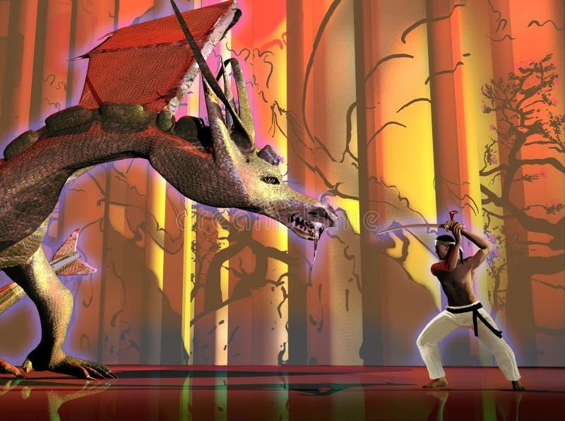 Samouraï contre le dragon illustration libre de droits