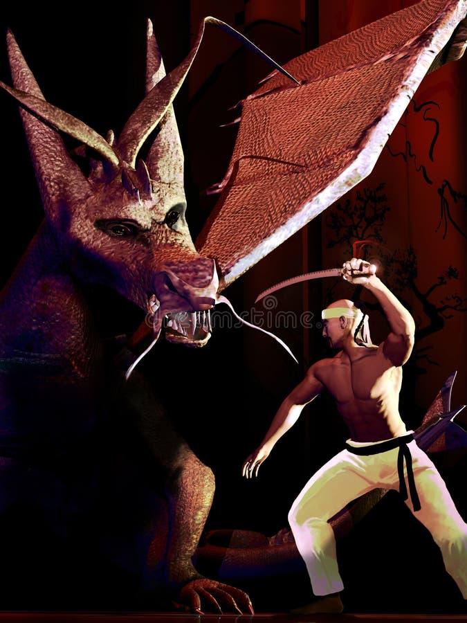 Samouraï contre le dragon illustration stock