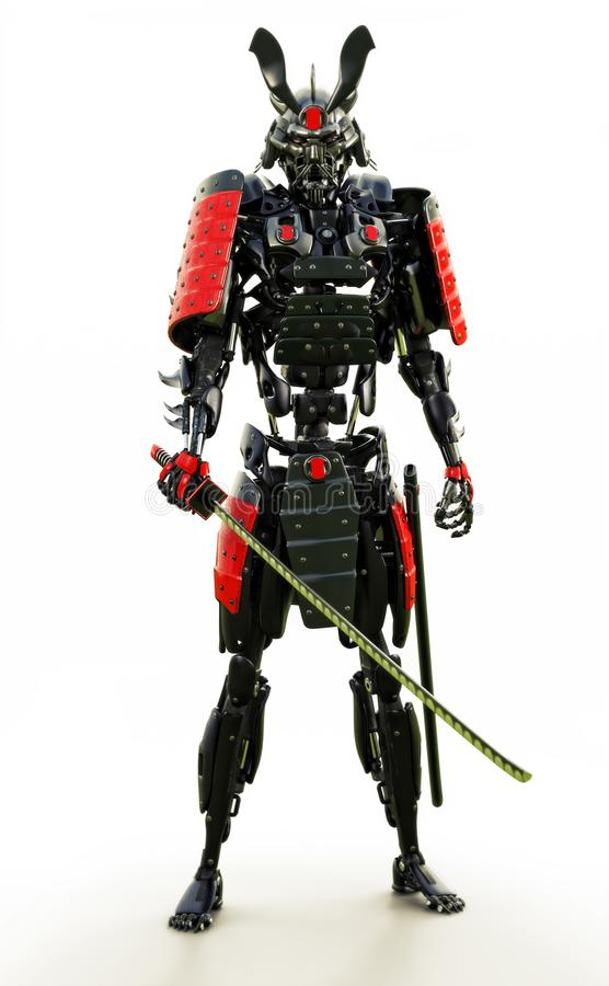 Samouraï a mécanisé le guerrier de cyborg sur un fond blanc illustration libre de droits