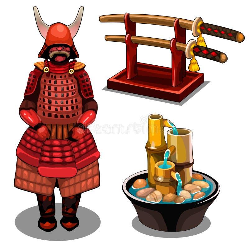 Samouraïs, katana sur le support et fontaine décorative illustration libre de droits