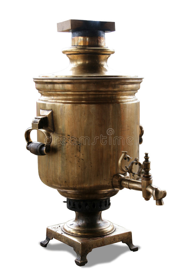 A samovar. A traditional russian copper teakettle stock images