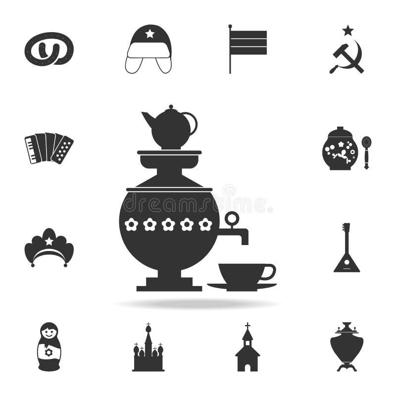 samovar con una tazza dell'icona del tè Insieme dettagliato delle icone della cultura russa Progettazione grafica premio Una dell royalty illustrazione gratis