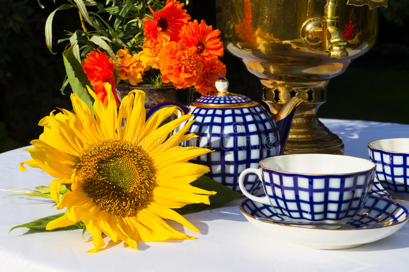 Samovar, cups of tea, red flowers with branches buckthorn, flowe stock images