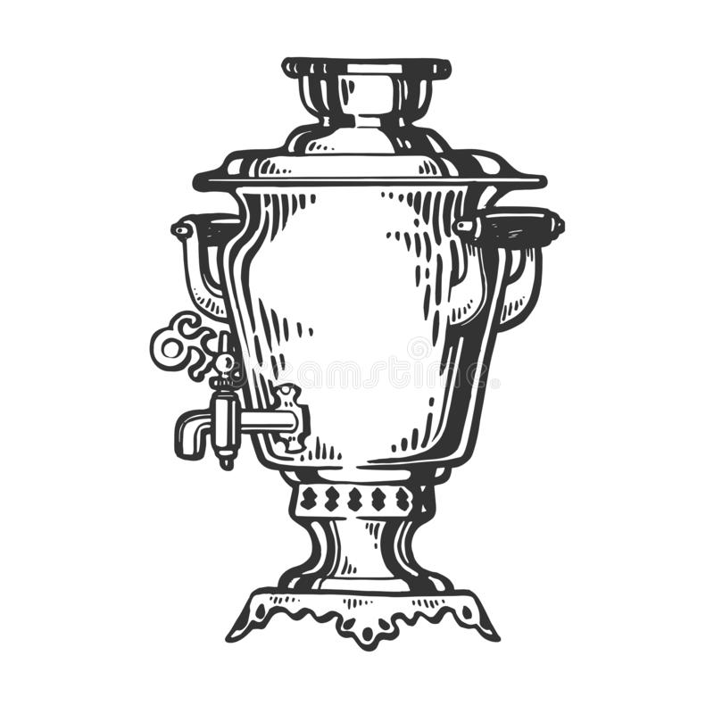 Samovar engraving style vector illustration. Samovar russian water tea boiler engraving vector illustration. Scratch board style imitation. Hand drawn image vector illustration