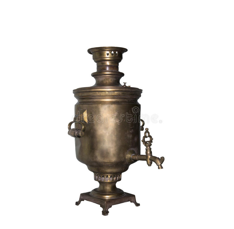 The samovar with medals is made in 1901. Is isolated on the white stock photos