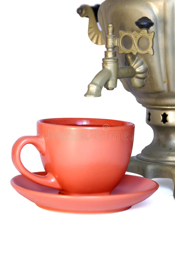 Samovar and teacup royalty free stock photography