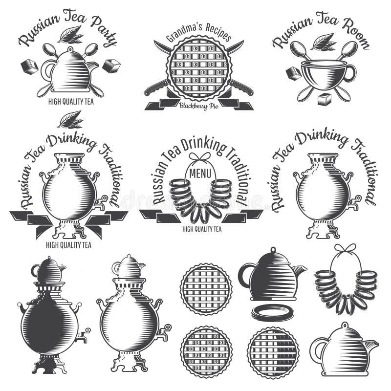 Samowar, teapot, filiżanka i inny, projektujemy elementy Ustawia Russiaan tradycji herbacianego logo dla kawiarni, teahouse, herb ilustracji