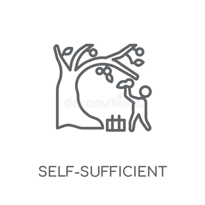 samowystarczalna liniowa ikona Nowożytnego konturu samowystarczalny logo royalty ilustracja
