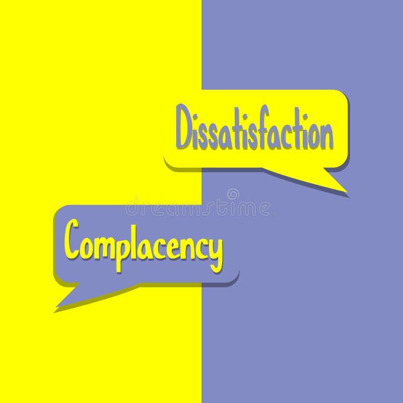 Samozadowolenie lub Dissatisfation słowo na edukacji, inspiracji i biznes motywacji, royalty ilustracja