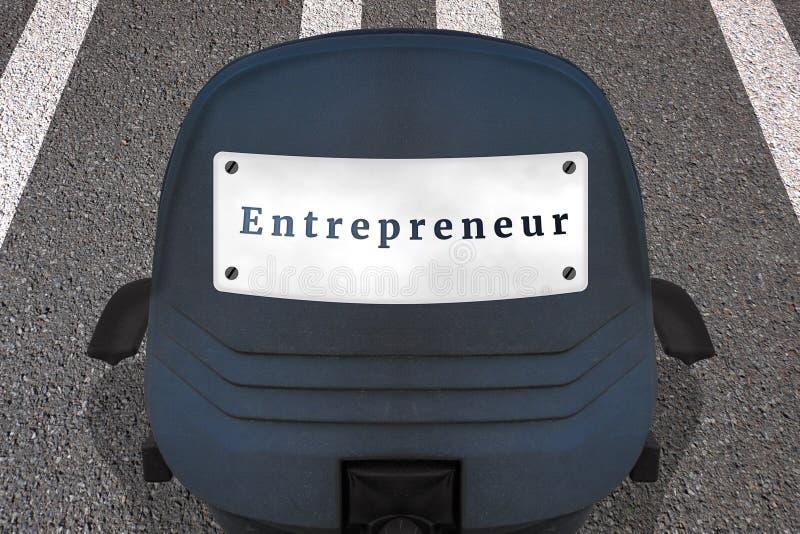 Samozatrudniający się posiada biznesowego pojęcie plakat Teksta przedsiębiorca Biurowy krzes?o na ocenionym pasie startowym lub a ilustracja wektor