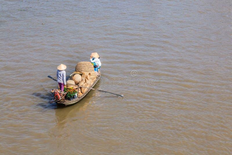 Sampan, δημοφιλής μικρή βάρκα Mekong στο δέλτα, Βιετνάμ στοκ εικόνες