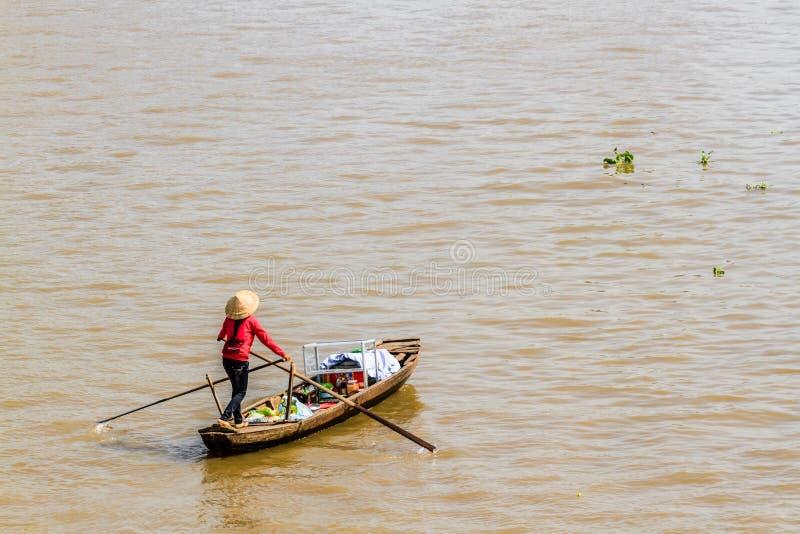 Sampan, δημοφιλής μικρή βάρκα Mekong στο δέλτα, Βιετνάμ στοκ φωτογραφία με δικαίωμα ελεύθερης χρήσης