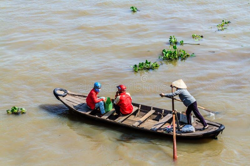 Sampan, δημοφιλής μικρή βάρκα Mekong στο δέλτα, Βιετνάμ στοκ εικόνες με δικαίωμα ελεύθερης χρήσης