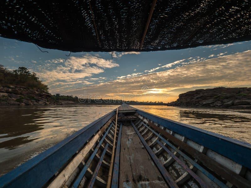 Sampan-bok in Ubonratchathani, Thailand Grand Canyon. On boat at Sampan-bok in Ubonratchathani, Thailand Grand Canyon royalty free stock photos