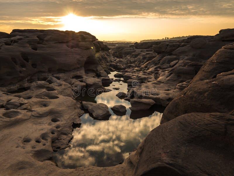 Sampan-bok in Ubonratchathani, Thailand Grand Canyon. Sunrise at Rocky landscape, Sampan-bok in Ubonratchathani, Thailand Grand Canyon stock photo