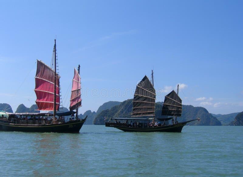 Sampans on Phang Nga Bay, Thailand royalty free stock images