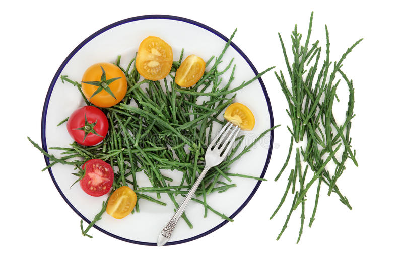Samphire and Tomato Health Food. Health food of samphire and tomato vegetables on a plate with silver fork over white background. High in antioxidants stock image